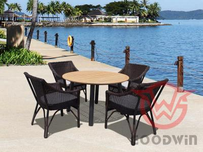 Hand Knitted Aluminum Frame PE Wicker Dining Set