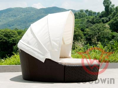 Reconfigurable Design Outdoor Rattan Daybed With Canopy