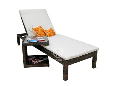 All Weather Aluminum Frame Wicker Chaise Lounge With Table