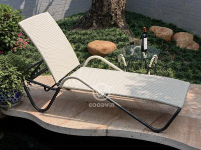 Outdoor PE Wicker Sun Lounger With Side Table