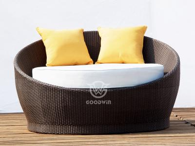 Outdoor Aluminum Frame Woven Rattan Round Sunbed