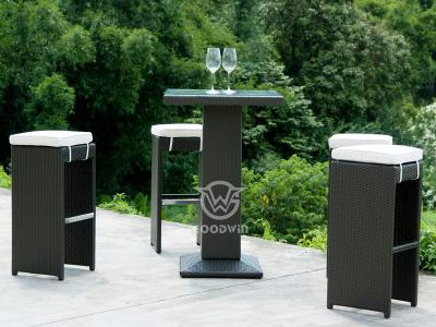 5 Piece Outdoor Furniture Plastic Rattan Bar Set