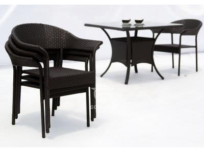 5 Pieces Patio Rattan Dining Set With Square Table