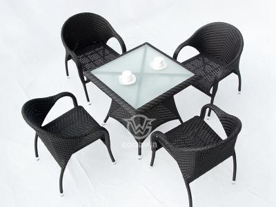 Outdoor Synthetic Wicker Dining Set For 4