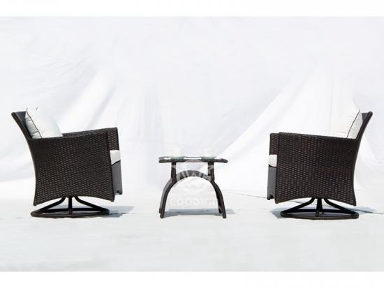 Rattan Swivel Chairs Set