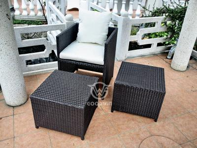 Outdoor Synthetic Rattan Cube Dining Set With Ottoman